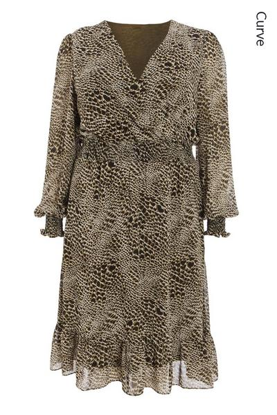 Curve Khaki Chiffon Animal Midi Dress
